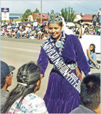 Miss Navajo Nation greets well-wishers at the Navajo Nation Fair Parade.