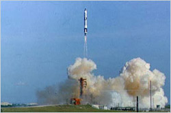 Gordon's Gemini capsule launches aboard a Titan 2 rocket