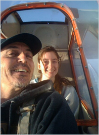 "Kevin Conklin and daughter Rachel ""harnessing the power of nature"" in a Schweizer SGS 2-33 (or simply SGS 2-33)"