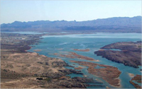 Lake Havasu widens the Colorado River not far from Needles, California.