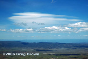 Near Prescott our attention shifted from cars and festivals to a striking cloud formation layered like a Dagwood sandwich.