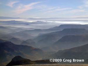 Morning mist fills valleys in Arizona's White Mountains.