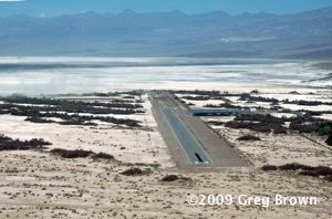 Furnace Creek Airport floats in a dry-baked sea of salt flats.