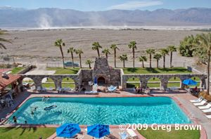 """Salt devils"" and the Panamint Mountains dominate views from the Furnace Creek Inn."