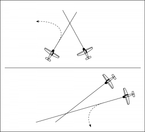 Aircraft on converging courses: aircraft of the right has right-of-way, aircraft of the left must yield.