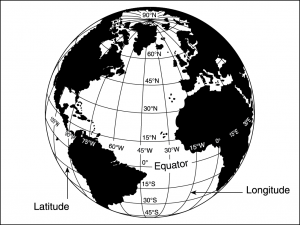 Meridians of longitude and parallels of latitude.