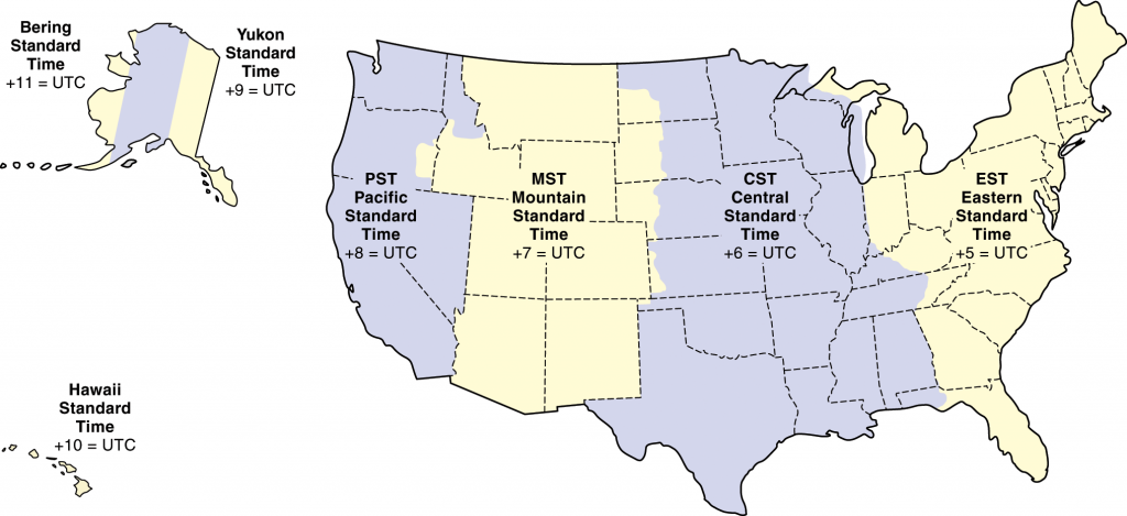 Standard Time Zones in the United States — Click to enlarge!