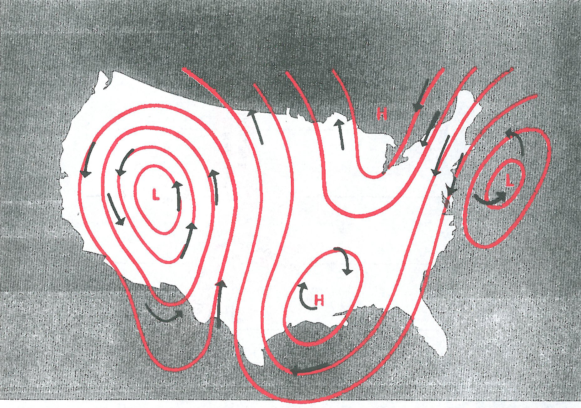 Figure 5. Cyclonic and anticyclonic wind patterns.