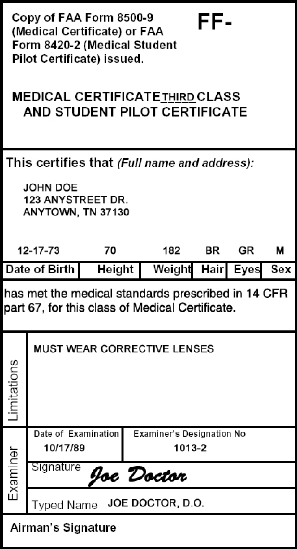 A third-class medical certificate/student pilot certificate.